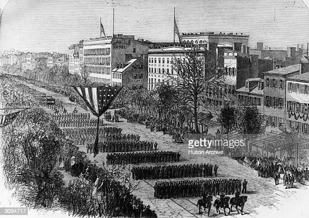 President Abraham Lincoln's funeral procession through the streets of Washington