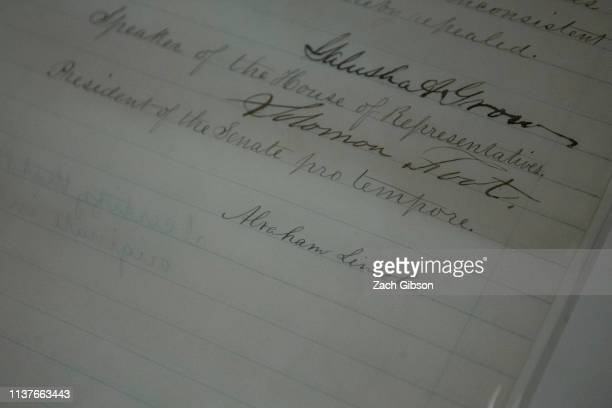 President Abraham Lincoln's signature is pictured on The Emancipation Act at the National Archives on April 16 2019 in Washington DC The National...