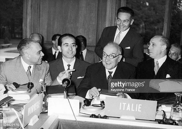 President Adone Zoli During The Meeting Of Ocde Ministers In Paris In 1956