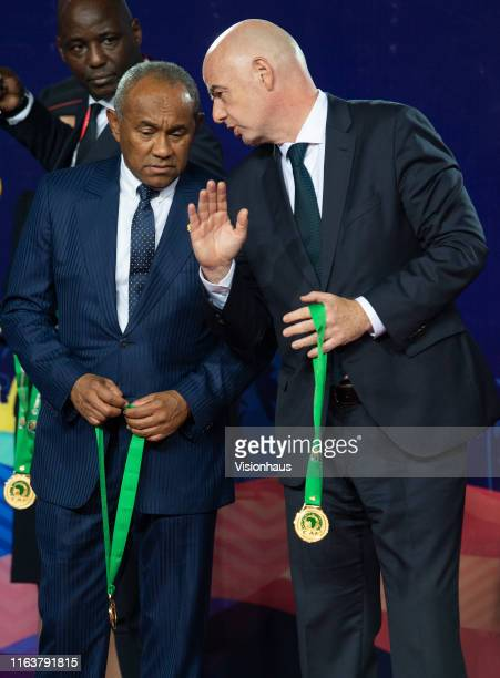 President Ahmad Ahmad and FIFA President Gianni Infantino during the presentaion ceremony for the 2019 Africa Cup of Nations Final between Senegal...