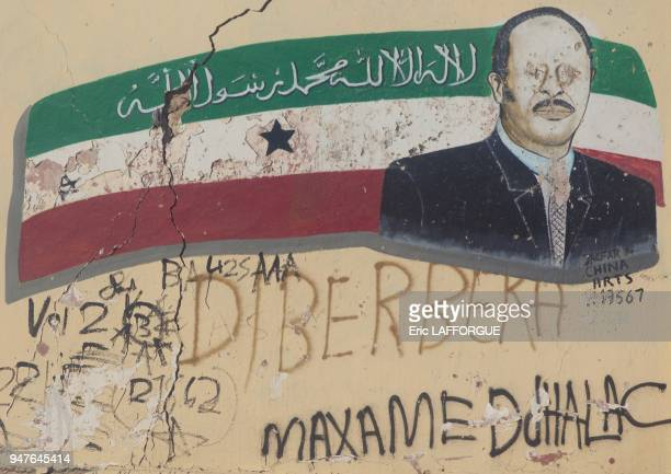 President Ahmed Mohamed Mohamoud Portrait And Flag Depicted On Wall Somaliland