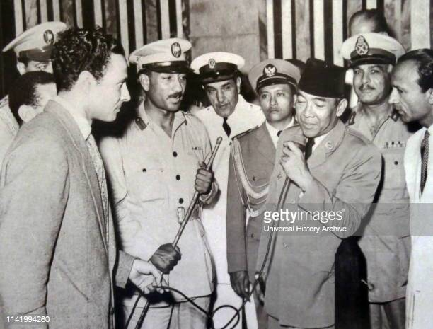 President Ahmed Sukarno of Indonesia with Colonel Anwar Sadat in Egypt 1955