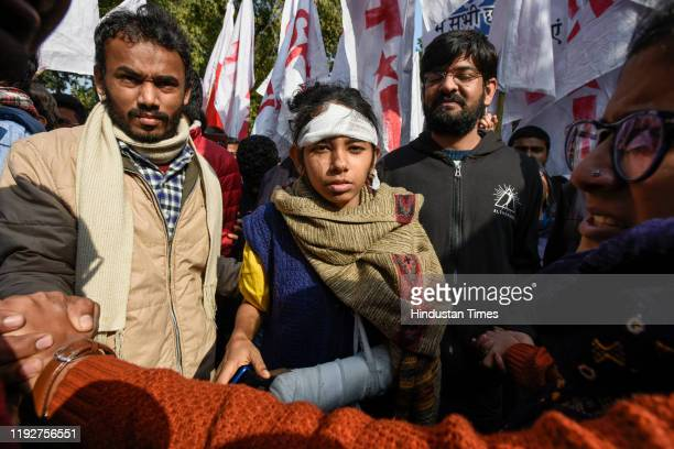 President Aishe Ghosh during a protest march from Mandi House to HRD Ministry, demanding the removal of their vice-chancellor on January 9, 2020 in...