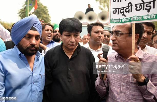 President Ajay Maken along with Haroon Yusuf Arvinder Singh Lovely and their supporters protesting against Delhi CM Arvind Kejriwal on his apology to...