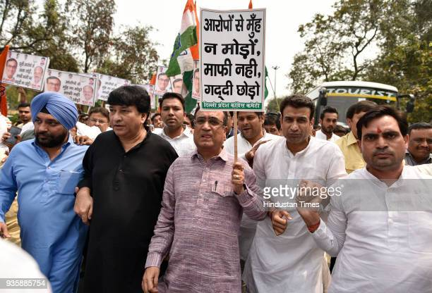 President Ajay Maken along with Haroon Yusuf Arvinder Singh Lovely and theirsupporters protesting against Delhi CM Arvind Kejriwal on his apology to...