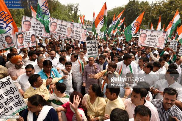 President Ajay Maken along with his Supporters protesting against Delhi CM Arvind Kejriwal on his apology to former Minister of Punjab Bikramjit...