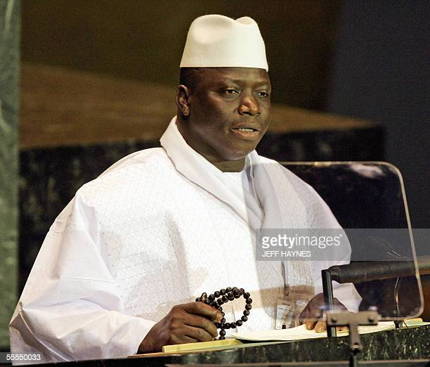 President Al Hadji Yahya Jammeh of Gambia addresses the 2005 World Summit 15 September, 2005 during the 60th session of the General Assembly at the...