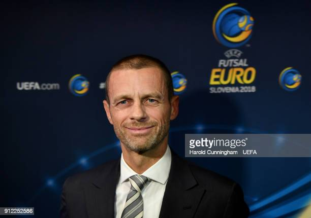 President Aleksander Ceferin ahead of the UEFA Futsal EURO 2018 Group A match between Slovenia and Serbia at the Arena Stozice on January 30 2017 in...