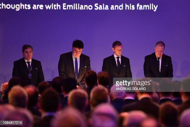 President Aleksander Ceferin and delegates hold a minute's silence during the 43rd Ordinary UEFA Congress on February 7, 2019 in Rome, in remembrance...