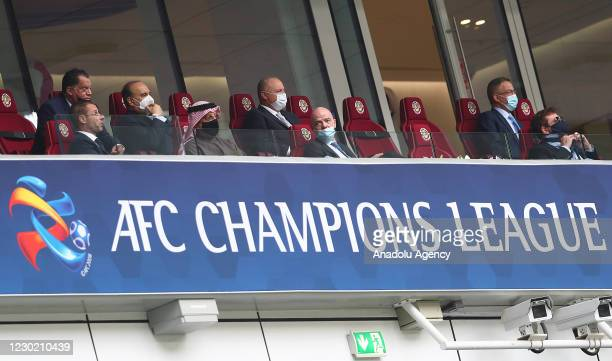 President Aleksander Ceferin and FIFA President Gianni Infantino are seeb during the AFC Champions League final match at al-Janoub Stadium in Al...