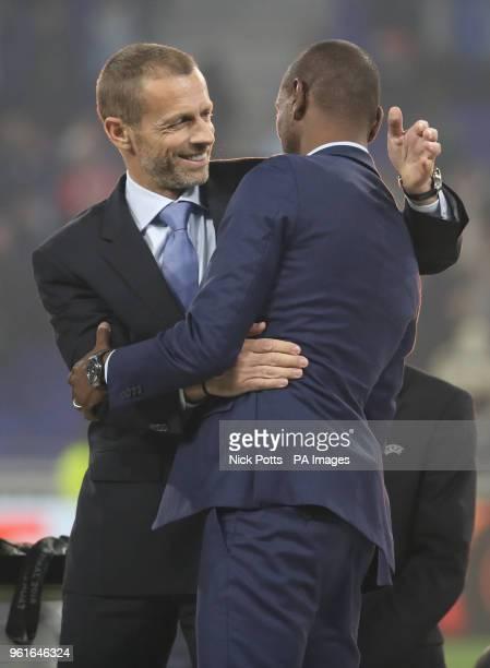 President Aleksander Ceferin and former footballer Eric Abidal at the end of the UEFA Europa League final at Parc Olympique Lyonnais Lyon