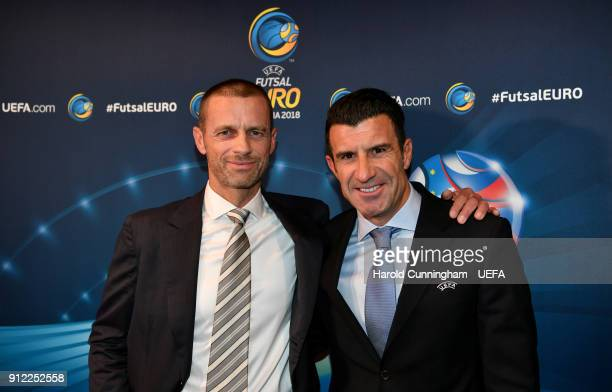 President Aleksander Ceferin and Luis Figo ahead of the UEFA Futsal EURO 2018 Group A match between Slovenia and Serbia at the Arena Stozice on...