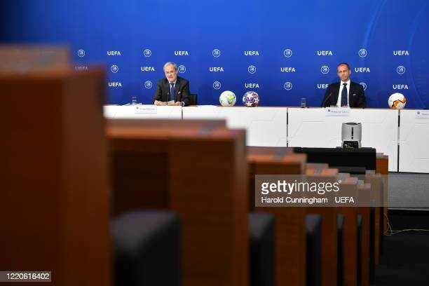 President Aleksander Ceferin and UEFA Deputy General Secretary Giorgio Marchetti during a press conference following the UEFA Executive Committee...