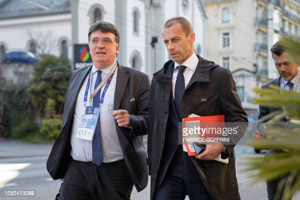 President Aleksander Ceferin and UEFA General Secretary Theodore Theodoridis arrive for a UEFA congress, during which FIFA president is expected to...