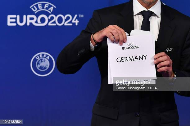 UEFA President Aleksander Ceferin announces Germany as the winners of the EURO 2024 bid during the UEFA EURO 2024 host city announcement at the UEFA...