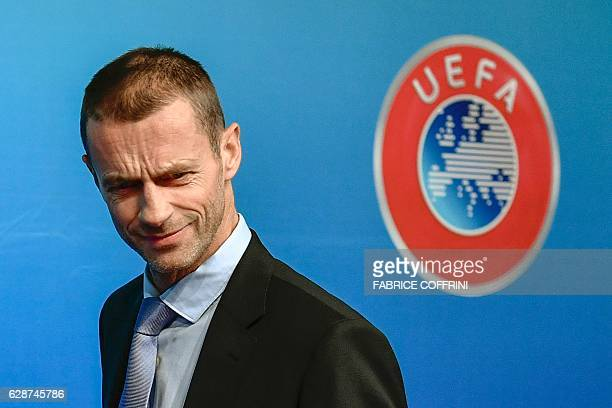 President Aleksander Ceferin arrives at a press conference closing an executive committee meeting at the headquarters of the European football's...