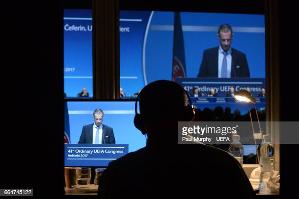 President Aleksander Ceferin as viewed from a translation booth speaking during the 41st Ordinary UEFA Congress on April 5 2017 in Helsinki Finland