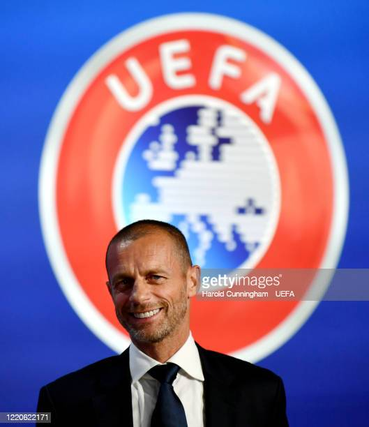 President Aleksander Ceferin attends a press conference following the UEFA Executive Committee meeting at the UEFA headquarters, The House of...