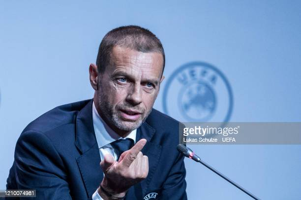 President Aleksander Ceferin attends the press conference during the 44th UEFA Congress at Beur van Berlage on March 03, 2020 in Amsterdam,...