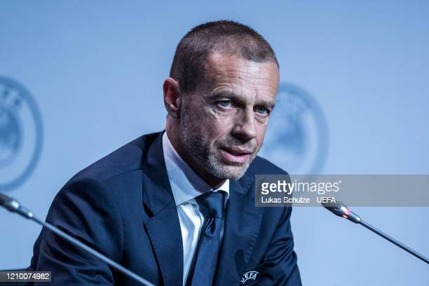 President Aleksander Ceferin attends the press conference during the 44th UEFA Congress at Beur van Berlage on March 03 2020 in Amsterdam Netherlands