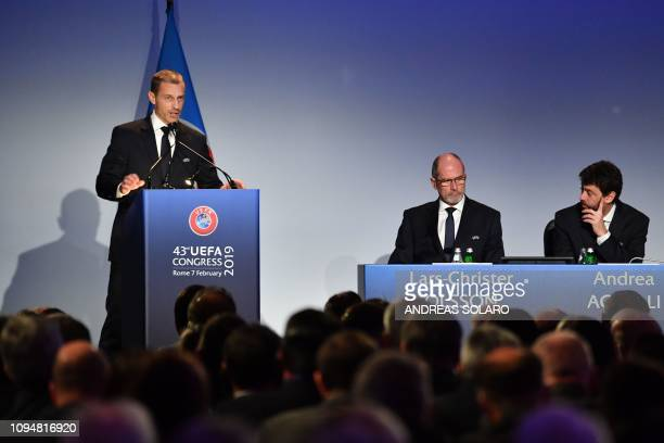 President Aleksander Ceferin delivers a speech during the 43rd Ordinary UEFA Congress on February 7, 2019 in Rome.