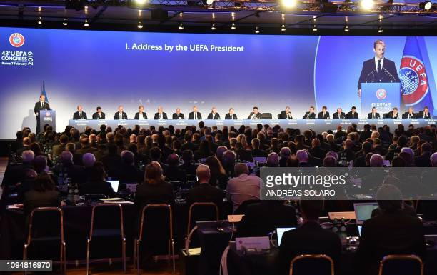 President Aleksander Ceferin delivers a speech during the 43rd Ordinary UEFA Congress on February 7 2019 in Rome