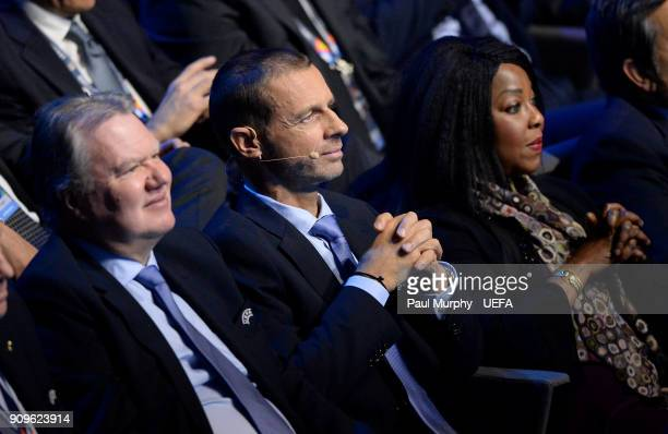 President Aleksander Ceferin diuring the UEFA Nations League Draw on January 24 2018 in Lausanne Switzerland