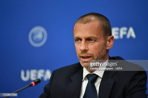 President Aleksander Ceferin during a press conference following the UEFA Executive Committee meeting at the UEFA headquarters, The House of European...