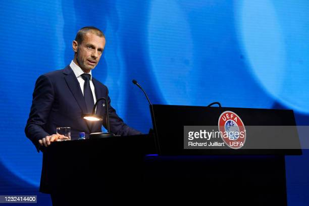 President Aleksander Ceferin during the 45th Ordinary UEFA Congress at 2m2c Montreux Music & Convention Centre on April 20 in Montreux, Switzerland
