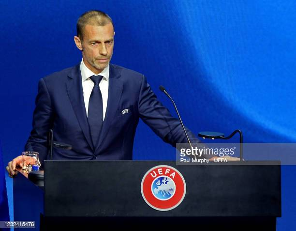 President Aleksander Ceferin during the 45th Ordinary UEFA Congress at 2m2c Montreux Music & Convention Centre on April 20 in Montreux, Switzerland.