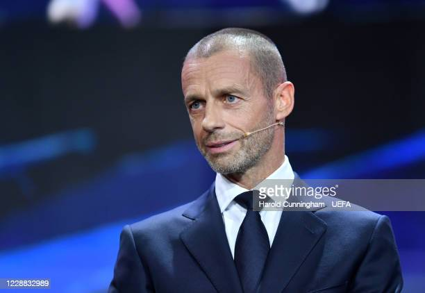 President Aleksander Ceferin during the UEFA Champions League Group Stage Draw at the RTS studios on October 01 in Geneva, Switzerland
