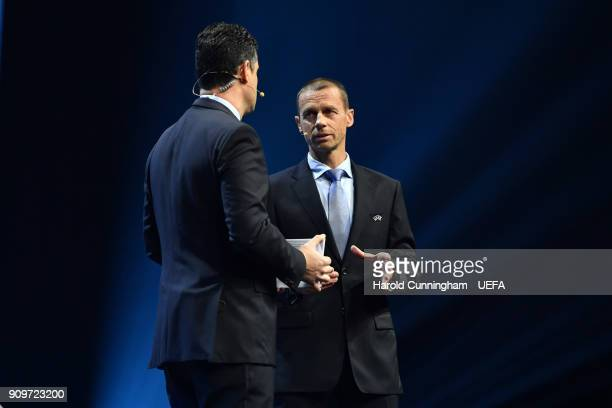 President Aleksander Ceferin during the UEFA Nations League Draw on January 24 2018 in Lausanne Switzerland