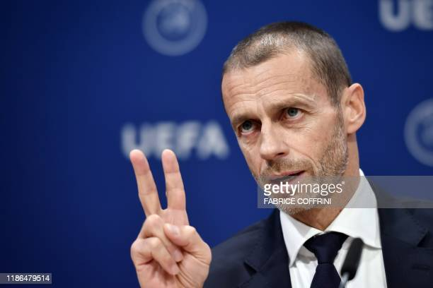 President Aleksander Ceferin gestures during a press conference following a meeting of the executive committee at the UEFA headquarters, in Nyon,...
