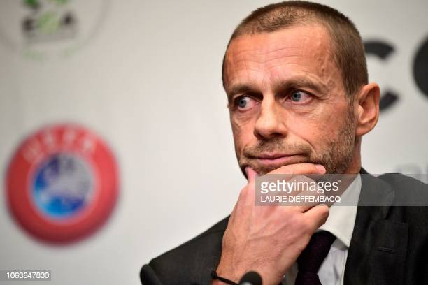 President Aleksander Ceferin gives a press conference of the Union of European Football Associations UEFA on November 20 2018 in Brussels / Belgium...