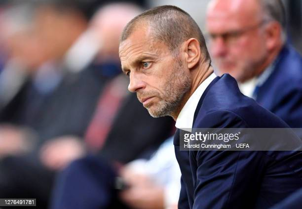 President Aleksander Ceferin is seen during the UEFA Super Cup match between FC Bayern Munich and FC Sevilla at Puskas Arena on September 24, 2020 in...