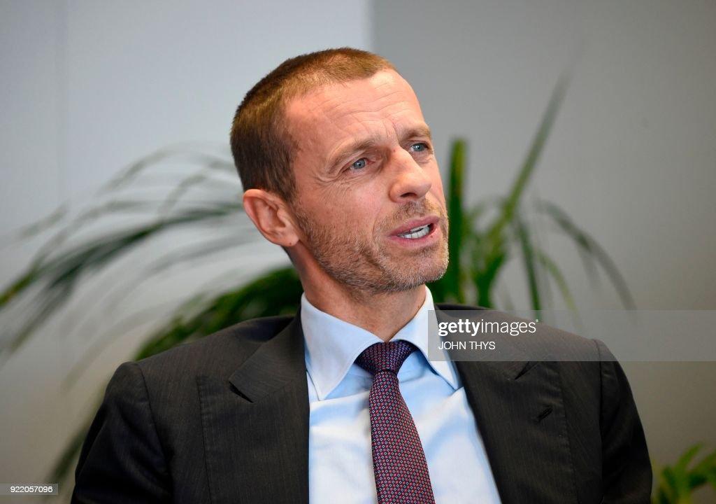 BELGIUM-EU-UEFA-COOPERATION : News Photo