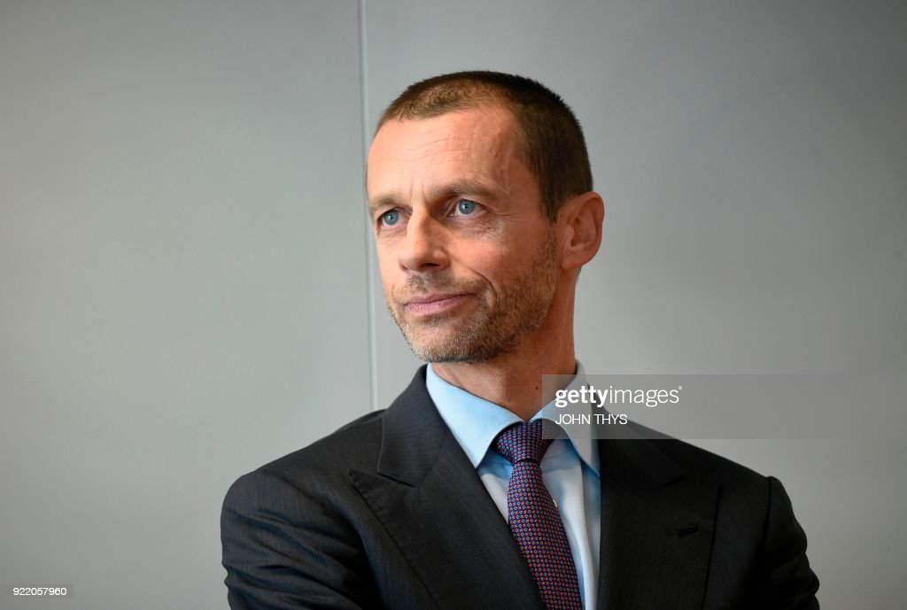 President Aleksander Ceferin looks on before the signature of the Agreement for Cooperation between the European Commission and the Union of European Football Associations (UEFA) at the EU Headquarters in Brussels, on February 21, 2018. /