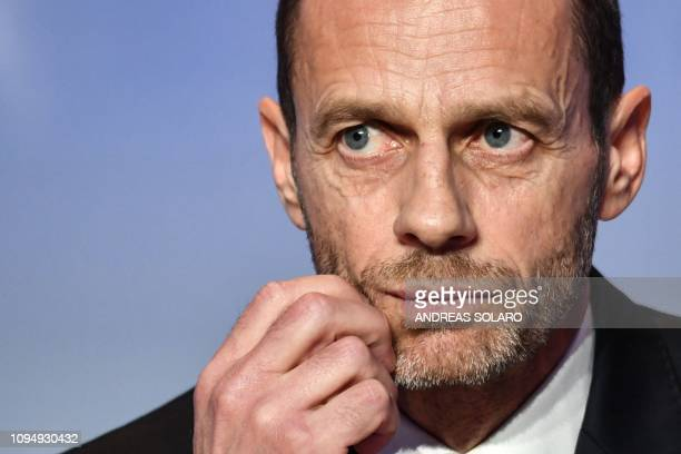 President Aleksander Ceferin looks on during a press conference following his re-election, at the 43rd Ordinary UEFA Congress on February 7, 2019 in...