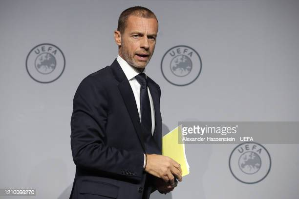 President Aleksander Ceferin looks on during the 44th UEFA Congress at Beur van Berlage on March 03, 2020 in Amsterdam, Netherlands.