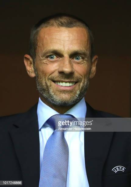 President Aleksander Ceferin looks on during the UEFA Super Cup between Real Madrid and Atletico Madrid at Lillekula Stadium on August 15 2018 in...