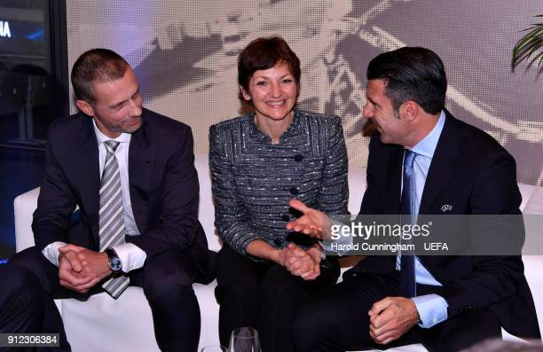 UEFA President Aleksander Ceferin Minister of Education Science and Sport Maja Makovec Brencic and Luis Figo ahead of the UEFA Futsal EURO 2018 Group...