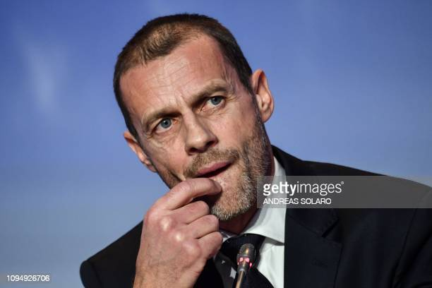 President Aleksander Ceferin ponders during a press conference following his re-election, at the 43rd Ordinary UEFA Congress on February 7, 2019 in...
