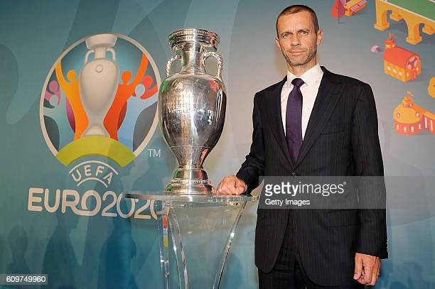 President Aleksander Ceferin poses for a picture during UEFA Euro Roma 2020 Official Logo Unveiling on September 22 2016 in Rome Italy