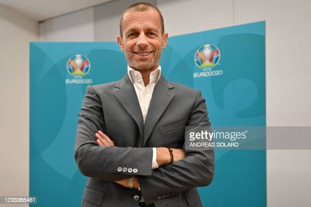 President Aleksander Ceferin poses on June 11, 2021 within an interview with AFP in Rome, hours before the kick off of the EURO 2020 2021 European...