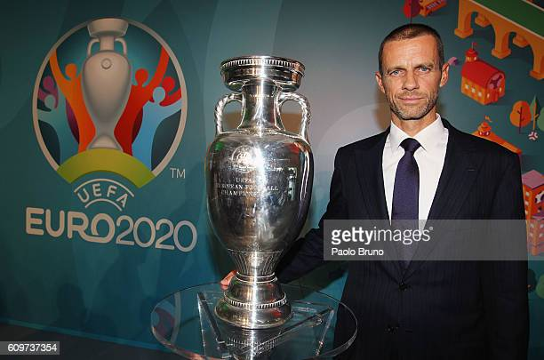 President Aleksander Ceferin poses with UEFA Euro Trophy during the UEFA Euro Roma 2020 Official Logo unveiling at Palazzo delle Armi on September 22...