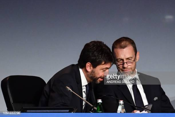 President Aleksander Ceferin shows his mobile phone to Juventus FC President Andrea Agnelli following his re-election, at the 43rd Ordinary UEFA...