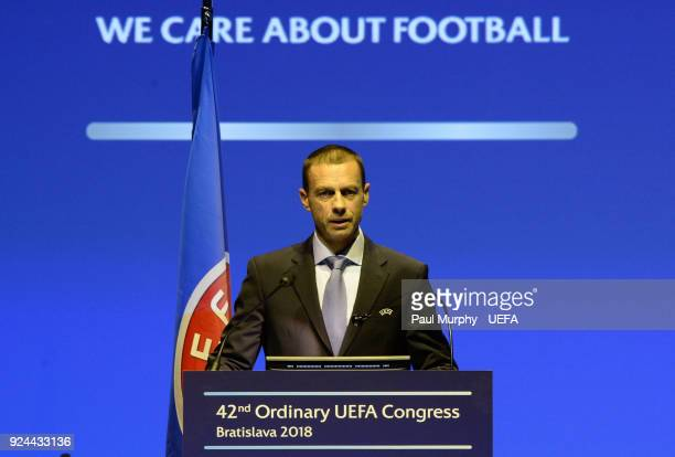 President Aleksander Ceferin speaking during the 42nd Ordinary UEFA Congress at the Incheba Expo on February 26 2018 in Bratislava Slovakia