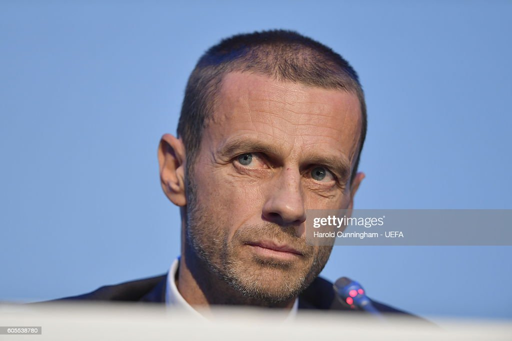 President Aleksander Ceferin speaking during the press conference after the 12th Extraordinary UEFA Congress at the Grand Resort Lagonissi Hotel, on September 14, 2016 in Athens, Greece.