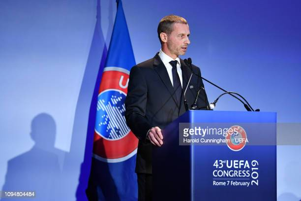 President Aleksander Ceferin speaking during the UEFA Congress at Hotel Cavalieri on February 7, 2019 in Rome, Italy.