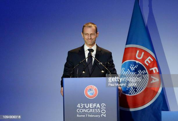 President Aleksander Ceferin speaking during the UEFA Congress at Hotel Cavalieri on February 7 2019 in Rome Italy